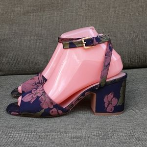 Zara Basic Collection jacquard print block heel.